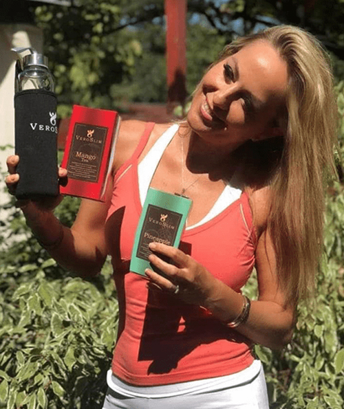 """The TV producer of the show """"SPORTS, DIET AND A CHANNEL D-STAR"""", Florentina Opriș, recommends Veroslim Tea for an enviable silhouette and a healthy lifestyle."""